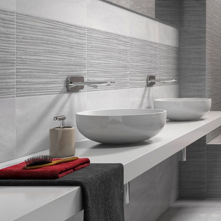 These Lovely Grey Patterned Wall Tiles With A Ripple Effect Come Co Ordinating Light