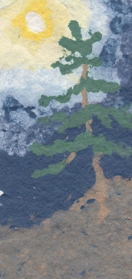 """""""Group of Seven"""" pine against a """"Vincent """" sky.  Recycled paper pulp """"painted on a screen."""
