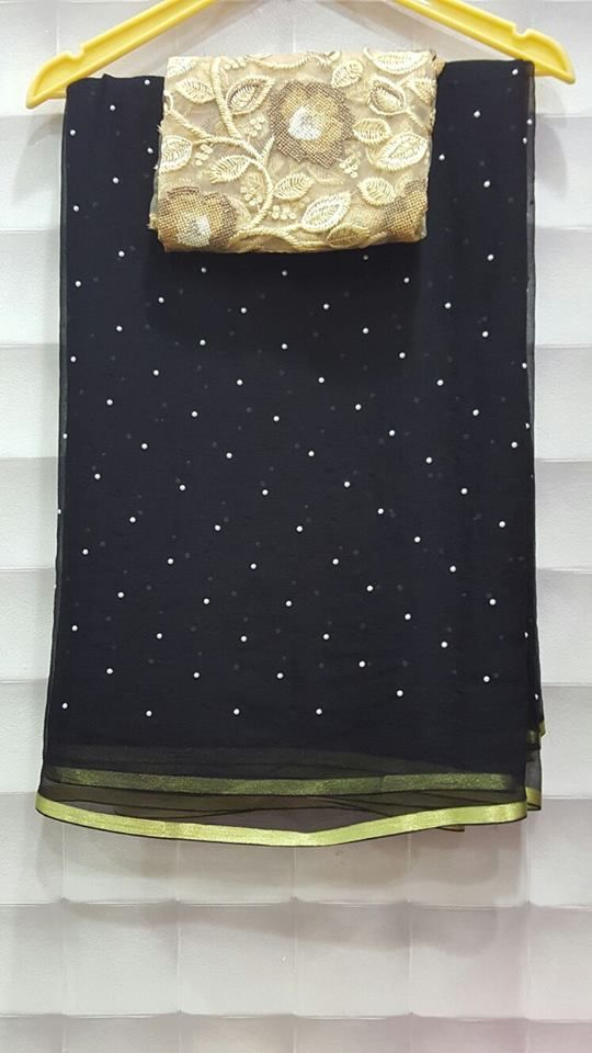 Exclusive Pearl Georgette saree With designer Blouse| Buy online sarees | Elegant Fashion Wear
