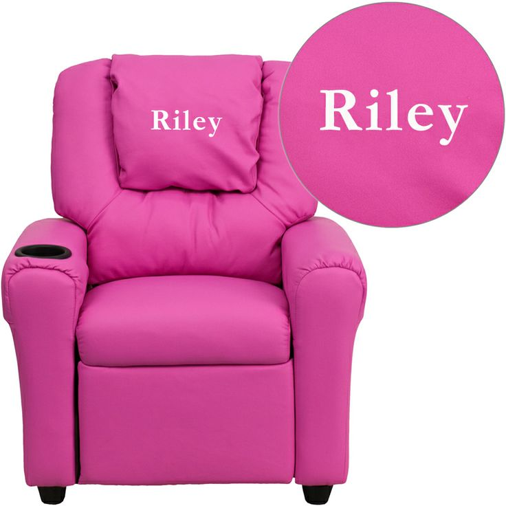 Riley hot pink kids recliner with a cup holder for your convenience.  sc 1 st  Pinterest : childrens recliners - islam-shia.org