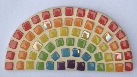 Rainbow mosaic kit with shape tiles glue grout by SwallowMosaics