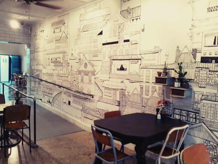 Meticulously Hand Drawn Korean Village Running Down A Long Wall In The Dining Room