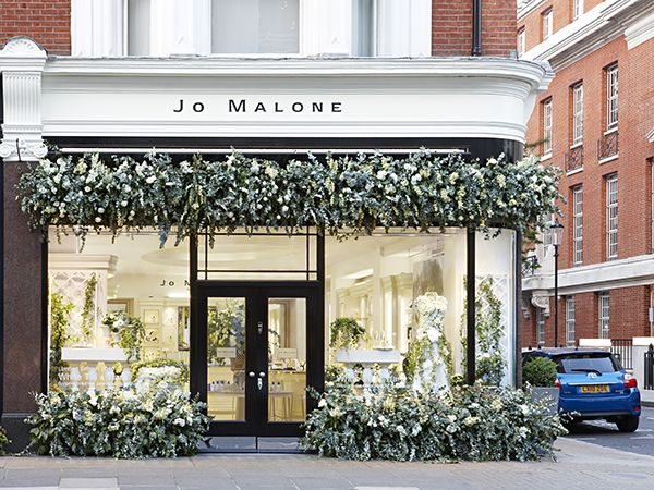 Jo Malone London, Sloane Street Boutique--bannister as the back of window display area