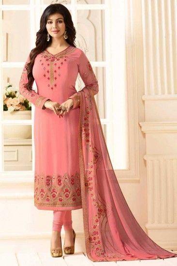 8df0967906 #Muslim #eid #Dresses 2018 - Resham Embroidered Georgette Tango pink #Churidar  suit - DMV12560