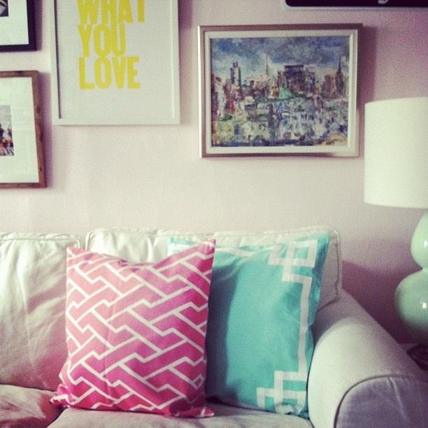 if i could id paint the world pink & mint // pillows by @Caitlin Burton Wilson Textiles // wall color @farrowandballs middleton pink - @Alaina Kaczmarski- #webstagram