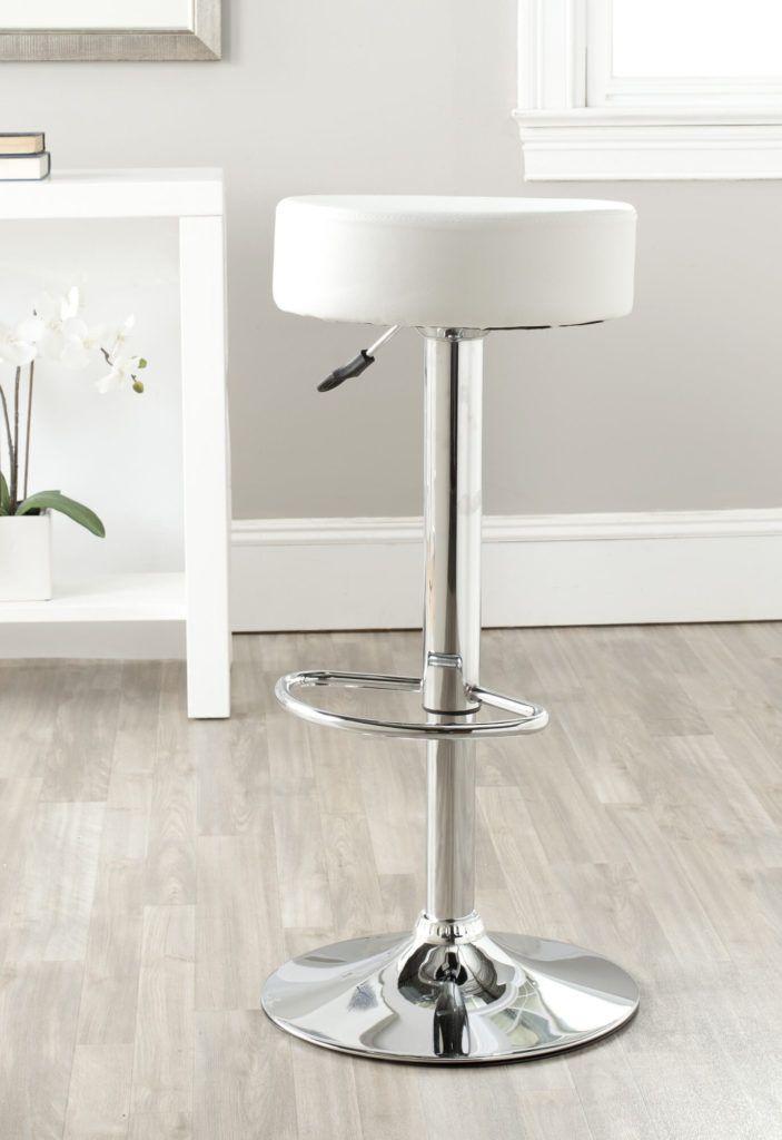 35 Stylish Modern Adjustable White Leather Bar Stools White