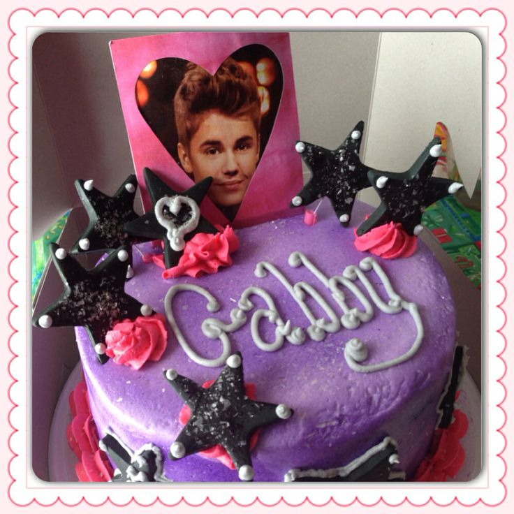 Justin Bieber tiered buttercream cake with airbrush and fondant accents via Shelli's Sweet Shoppe