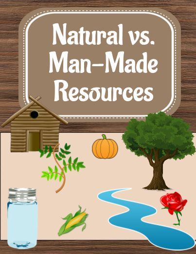 Includes various activities for natural vs. man-made resources lessons. Students can do a sort, explore their room to find resources, and learn what natural resources make some man-made resources. #freeprintables #TeacherSherpa