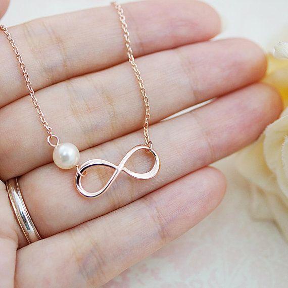 Unendlichkeit und Swarovski Perle Armband von earringsnation