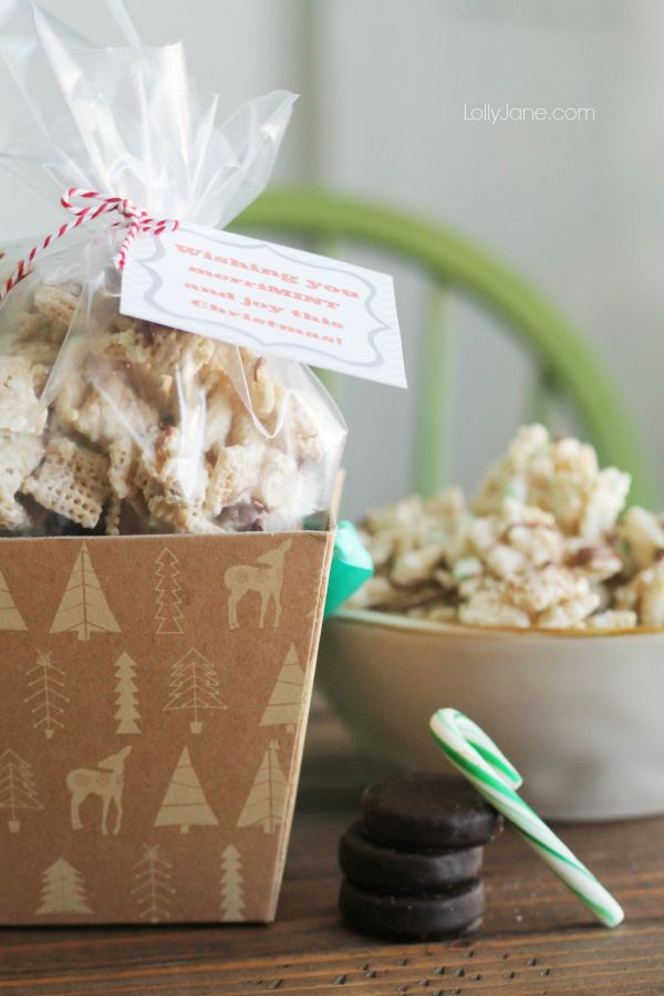 """""""Wishing you merriMINT and joy"""" FREE neighbor gift tag! PLUS a recipe for peppermint chocolate chex mix!"""