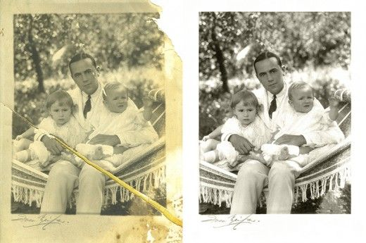"Fully featured photo restoration software like Photoshop - and ""GIMP"" - with practice can help you perform miracles with damaged images"