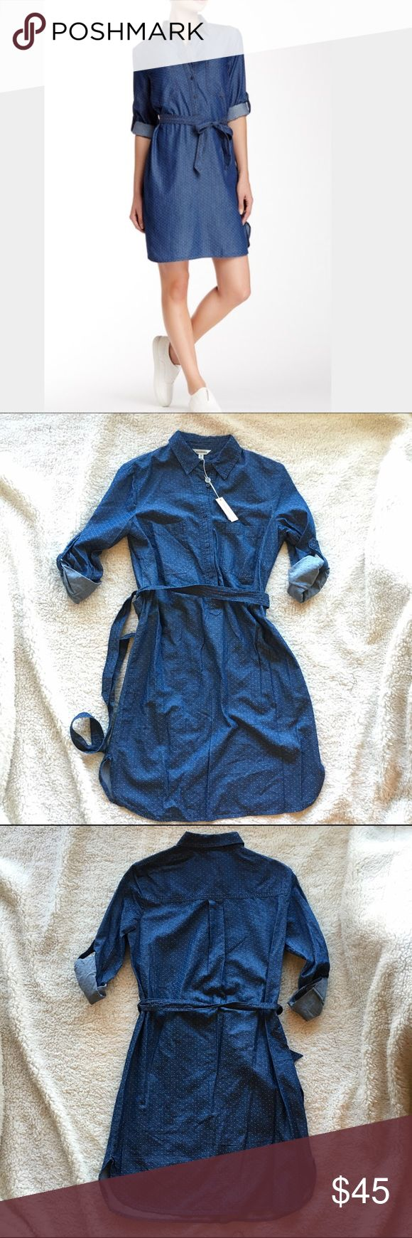 NWT: Max Studio Pindot Denim Shirt Dress, sz XS NWT: Max Studio roll sleeve pin dot denim shirt dress with waist tie from a smoke-free, pet-free home. Size: XS Max Studio Dresses Long Sleeve