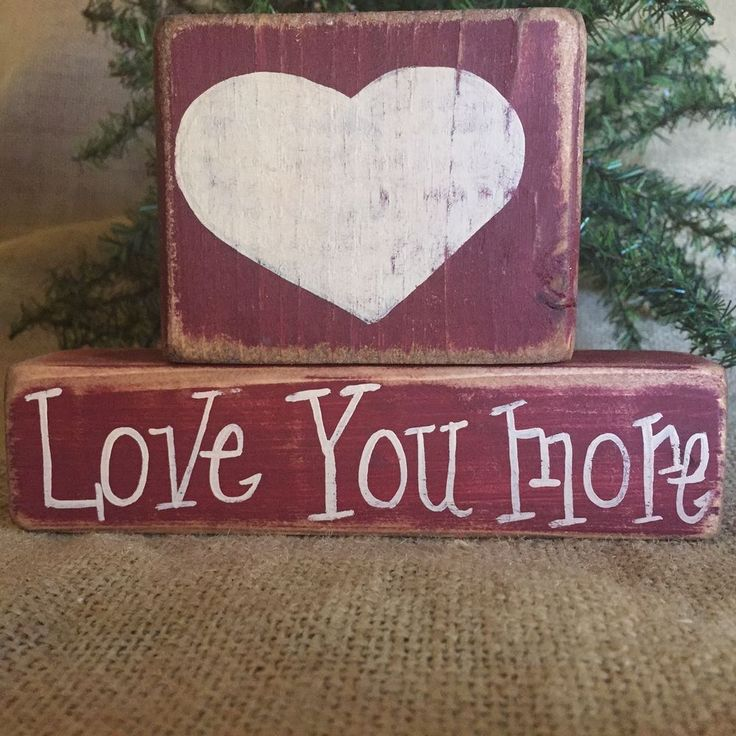 Primitive Country Love You More Valentine Holiday Shelf Sitter Wood Block Set #LoveYouMore #DoughandSplinters #ValentinesDay