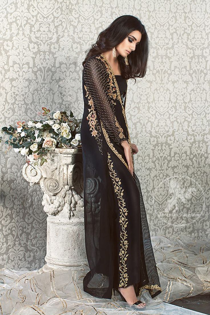 Black Party Wear Gown – Embroidered Cigarette Pants