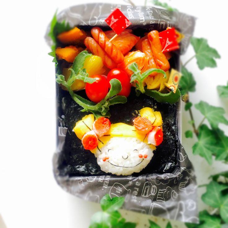 usako's dish photo 長女のお弁当        ココちゃんのり弁 | http://snapdish.co #SnapDish #お弁当 #キャラ弁 #お昼ご飯 #キャラクター #焼き魚