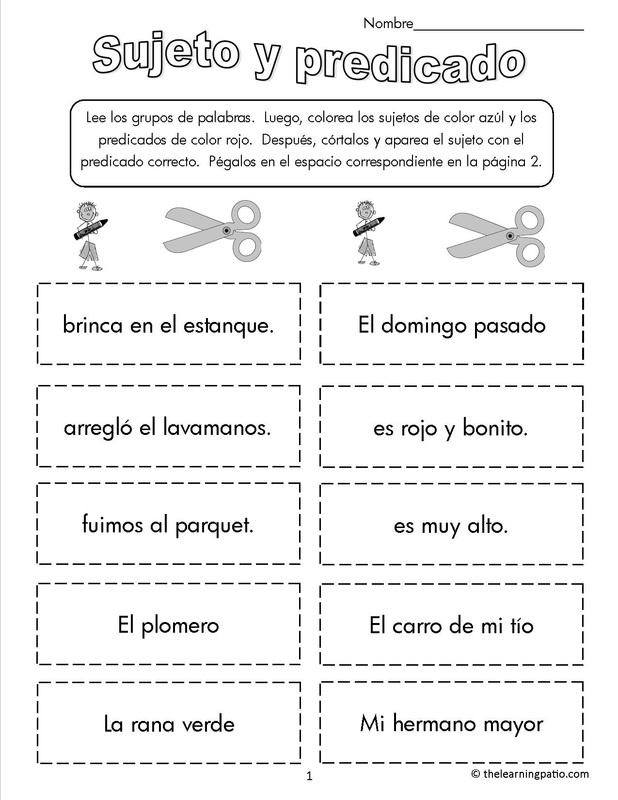 Sujeto y predicado - www.thelearningpatio.com - $1.99 gives you unlimited downloads.