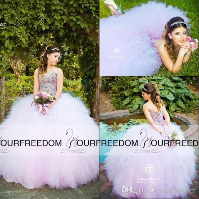 New Lavender Sweetheart Backless Quinceanera Dresses 2016 Beaded Crystals Basque Waist Cascading Ruffles Ball Gown Princess Prom Gowns Quinceanera Dress Websites Quinceanera Dresses 2010 From Ourfreedom, $126.64| Dhgate.Com