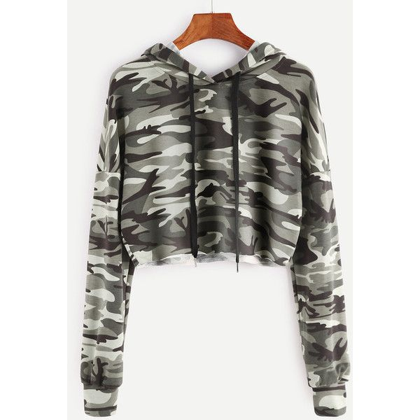 Olive Green Camo Print Crop Hoodie (£16) ❤ liked on Polyvore featuring tops, hoodies, green, camo hoodie, green hoodie, olive green top, camouflage hoodie and green crop top