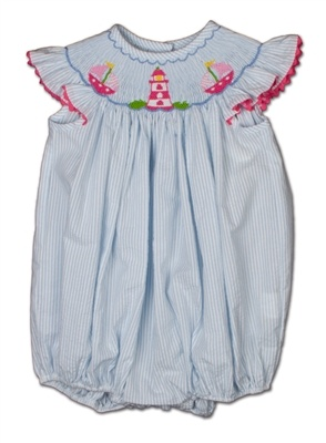 Sweet smocked bubble with sailboats & lighthouse from Shrimp and Grits Kids.