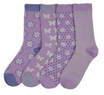 Violet 4 pair set of women's soft bamboo crew socks | Exclusive by Braintree