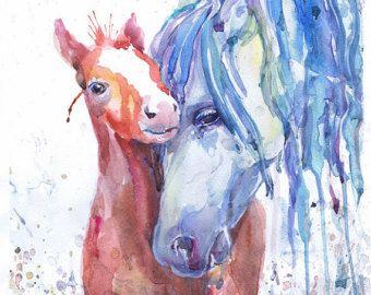 Arte del caballo imprimir acuarela equinos pintura por ValrArt