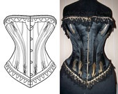 Ref Y pattern drafted from antique early XXe century S curve Edwardian corset, 18 inches small waist size. $36.00, via Etsy.