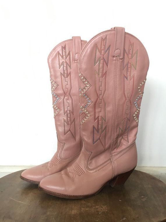 Light Pink Vintage Leather Cowgirl Boots with awesome stitching details -  size 6M Rare and Unique! 21a9eaa95614