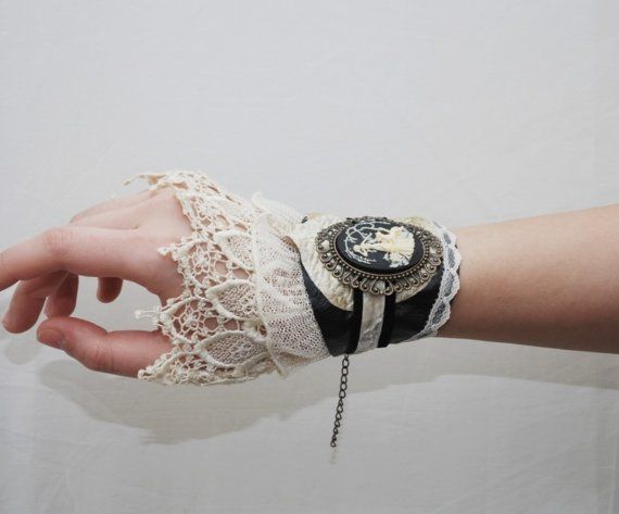 Leather and Lace - an enchanted cameo wrist cuff