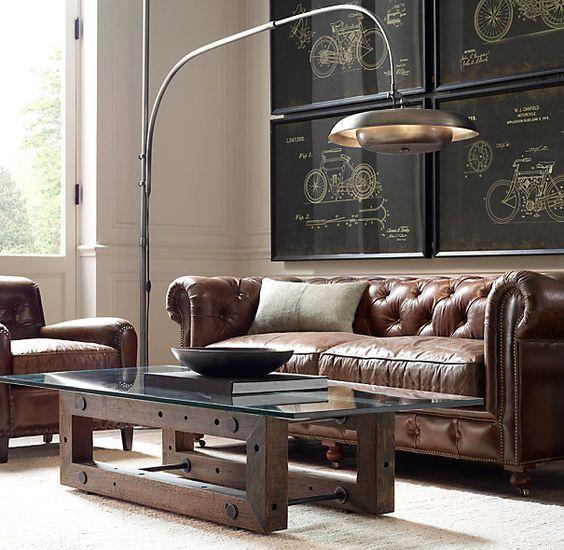 Sofás de piel en color coñac para interiores modernos