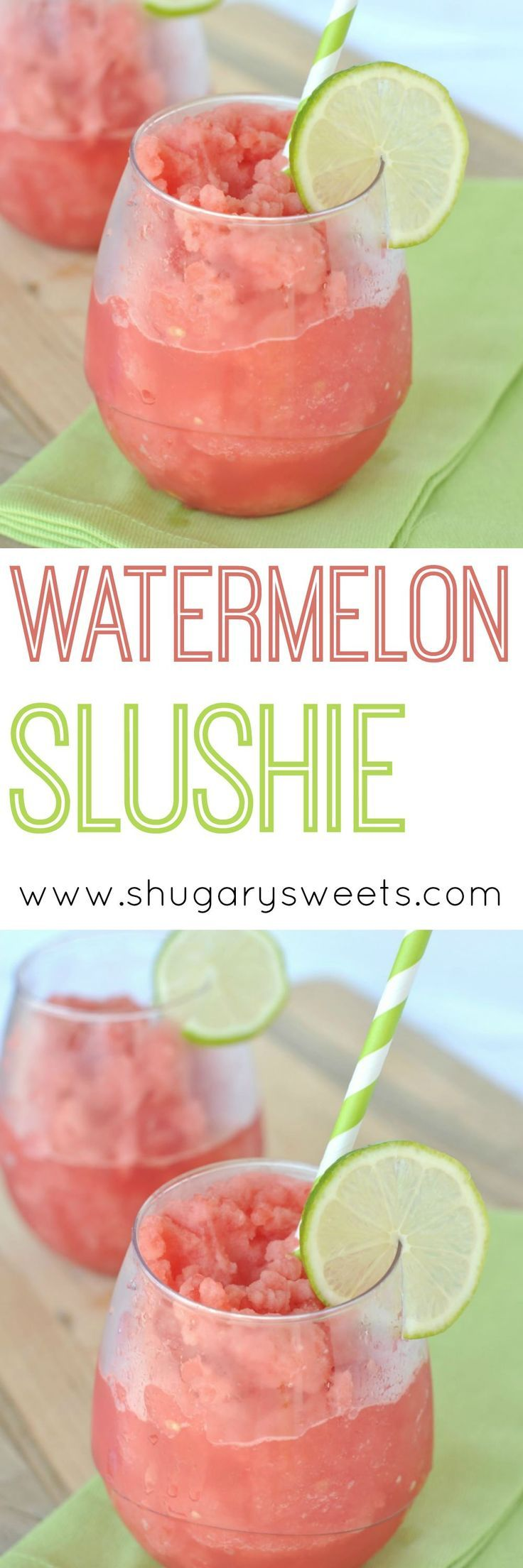 A quick, refreshing slush made using frozen watermelon, lime juice, and water!
