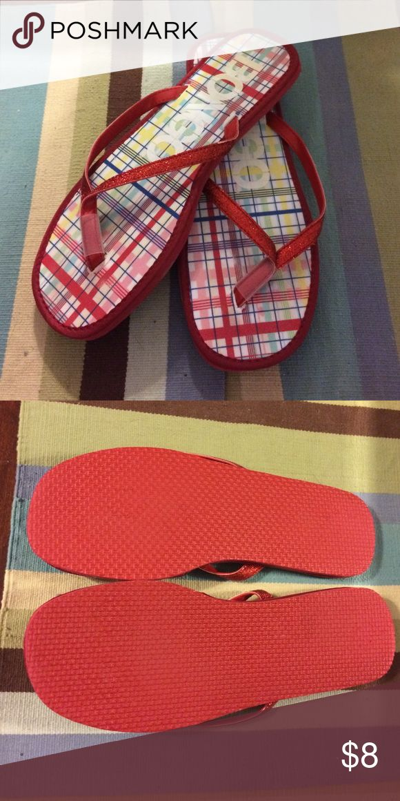 Bongo sparkly red flip flops Bongo red flip flops with sparkly red straps. Maybe worn once if at all. There's no size on them but I compared to my other shoes and they are an 8M. BONGO Shoes Sandals
