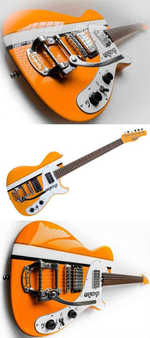 Orange/Manson MA Special. Musikmesse 2015 - In actual, slightly-disappointing fact this striking instrument is a one-off created by Manson Guitar Works. The MA special is finished in the original Orange amplifier colour code and features details unique to the Orange amplifier range such as hieroglyph symbols for the controls, original Orange logos and amplifier control knobs for the volume and tone. Other specs include Bigsby tremolo and an MBK-2 pickup set.