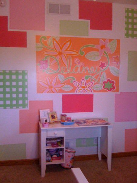 girls' bedroom mural I painted