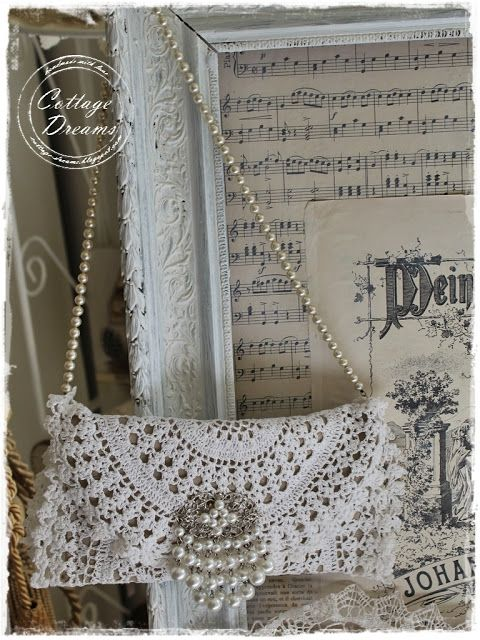 absolutely brilliant use of an ordinary doily.  Cottage Dreams