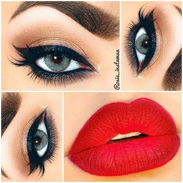 Retro Makeup ❤ liked on Polyvore featuring beauty products, makeup, eye makeup, eyes, lips, beauty, lips makeup, retro makeup, retro cosmetics and glamorous makeup