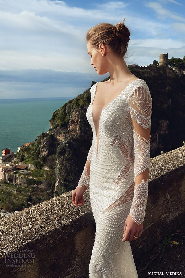 michal medina spring 2016 bridal long sleeves deep plunging neckline sexy sheath wedding dress melissa