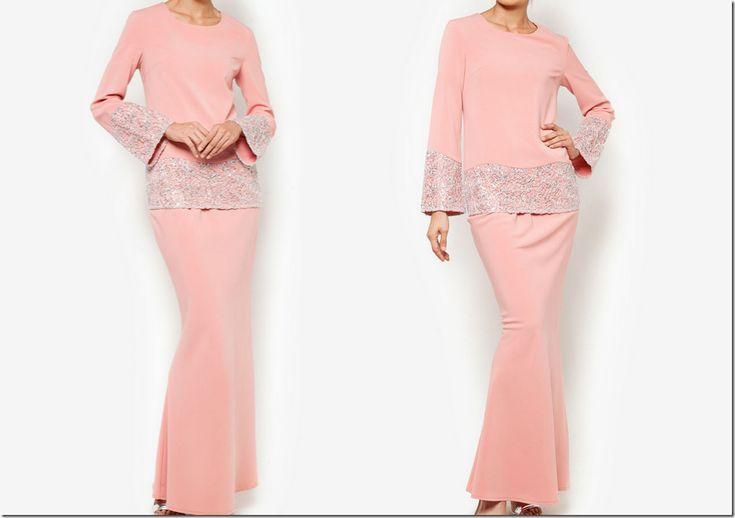 pink lace modern baju kurung