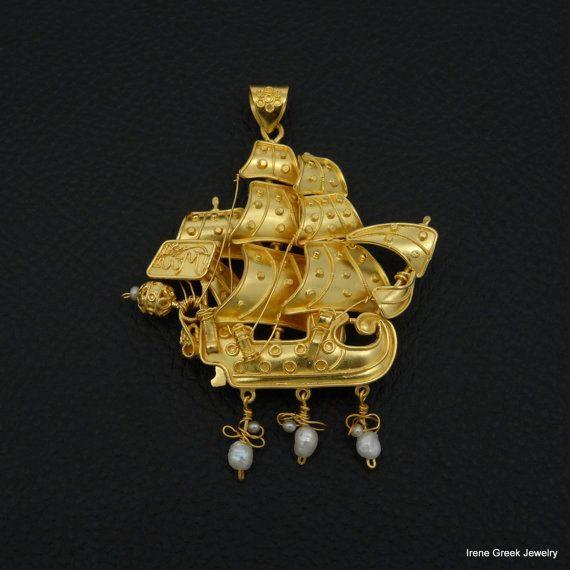 Ship Pendant Museum Copy 22K Solid Gold Greek Handmade Art Big Rare