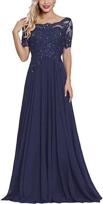 23a6b304f Mother of The Bride Groom Dresses with Short Sleeves Long Maxi Formal  Evening Party Gown for Women Navy Blue at Amazon Women's Clothing store: