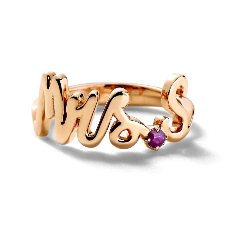 Alison Lou Mrs. Ring: The initial is customizable, and in diamond or ruby.