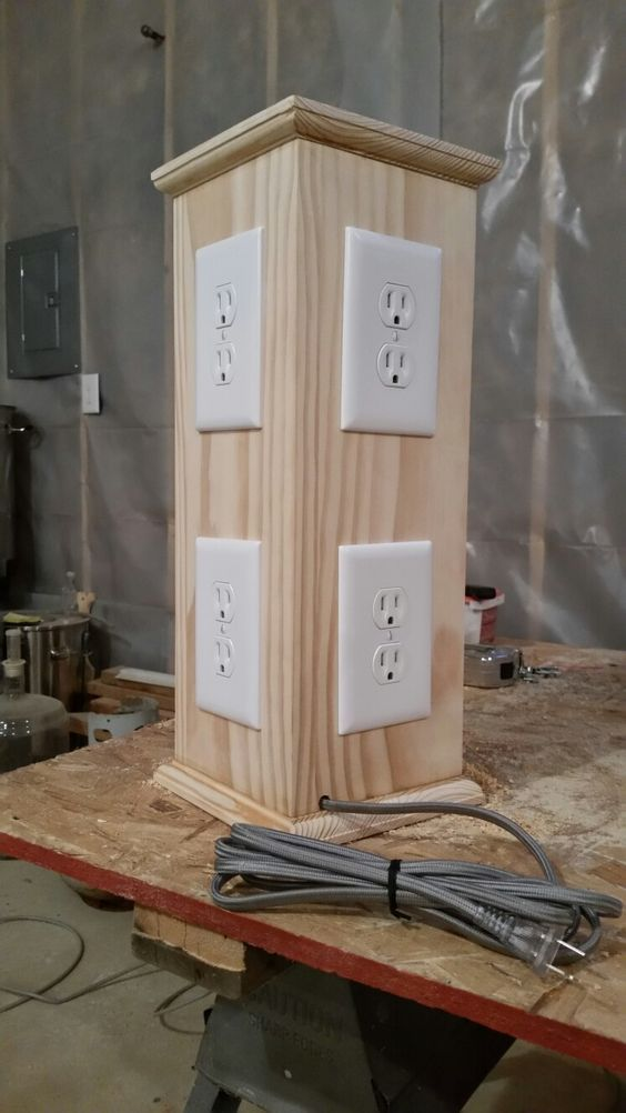 $32 in materials at my local big box store. 8 outlets, 8 cover plates, 15' 14-2 wire, extension cord, 8' 1x6, 3' 1x8 and misc screws and nails. If you have a booth our table this is a great way to display the plug in products in action. Paint it or varnish and leave natural.