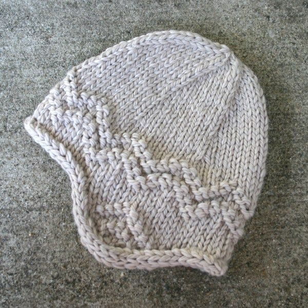 North Shore hat - Free knitting pattern for an adult's earflap hat, knit in bulky weight wool.