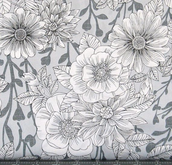 Large Scale Black and Gray Floral on White Cotton by fabric406