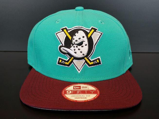 Anaheim Mighty Ducks Snapback Vintage Exclusive Custom Teal and Maroon