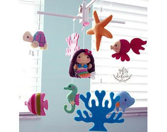 Free US Ship Musical Baby Mobile Mermaid and Under the Sea Fish, Nautical Ocean Sea Theme, Hanging Mobile for Crib, Modern Nursery Decor