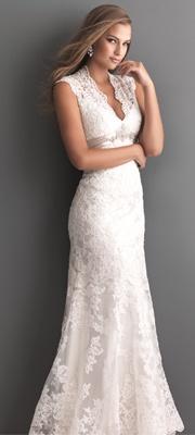2013 Allure Bridal - White Lace Applique Keyhole Wedding Dress