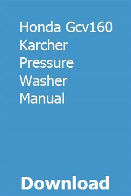 Honda Gcv160 Karcher Pressure Washer Manual download pdf