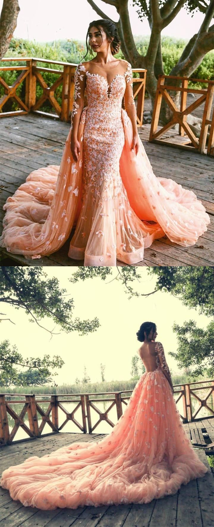 Peach lace long sleeves mermaid prom dresses removable skirt prom