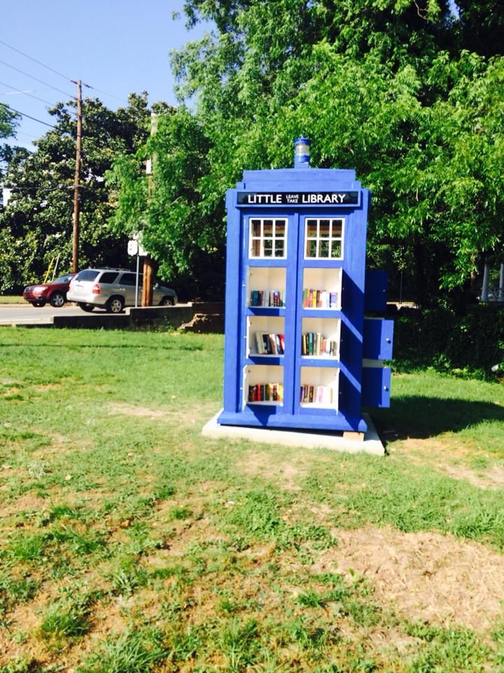 Jen Look and Christopher Marney. Macon, GA. This library was built to the same scale as the prop on the Doctor Who, based on dimensions available at TARDISBuilders.com. It has 18 shelves of books so we're calling this a Not-So-Little Library.