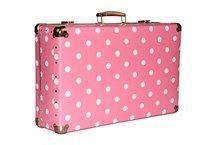 Nýtovaný kufr 60cm růžový s puntíky